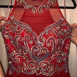 Rachel Allan Size 8 Red Prom Formal Dress Long